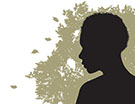 Cover image for The Cleansing by Michael Connor, silhouette of african woman looking at falling leaves in the distance.